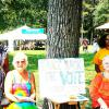 International Festival in STL 8.29.15. Shelby Day, Angelika Mueller-Rowry, Hedy Harden and Angela Bell collect signatures for Initiative Petition to allow voting for Missouri prisoners, parolees and probationers.